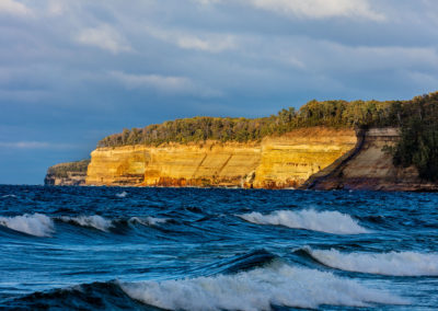 Lake Superior waves with cliffs in Pictured Rocks National Lakeshore, Michigan, USA