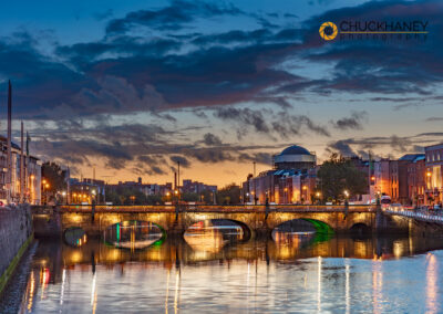 The Grattan Bridge over the River Liffey at dusk  in downtown Dublin, Ireland