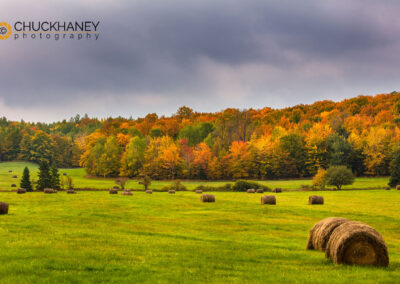 Hay bales in autumn meadow near Bruce Crossing, Michigan USA