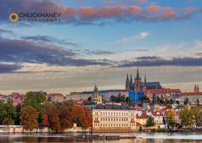 Prague Castle and Vtlava River in Prague, Czech Republic